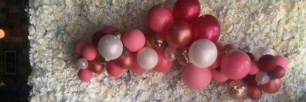 Burgundy Pink White And Silver Air Filled Balloon Garland Organic